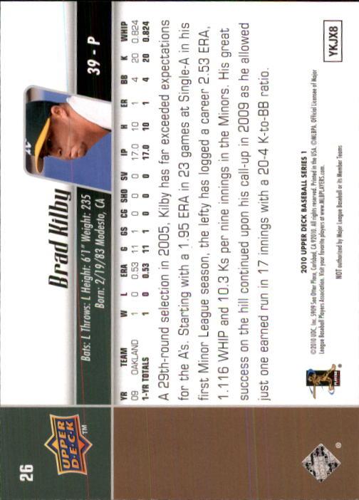 2010 Upper Deck #26 Brad Kilby RC back image
