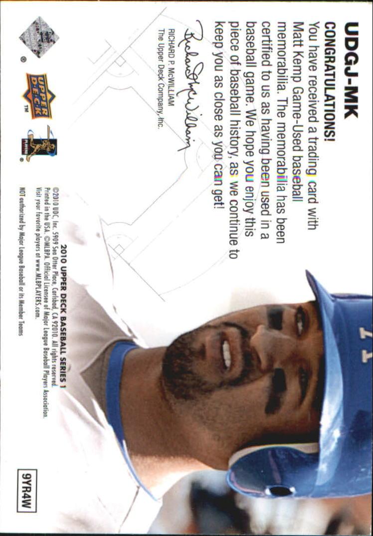 2010 Upper Deck UD Game Jersey #MK Matt Kemp back image
