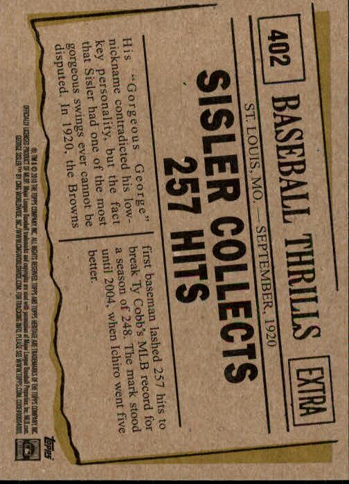 2010 Topps Heritage #402 George Sisler BT back image
