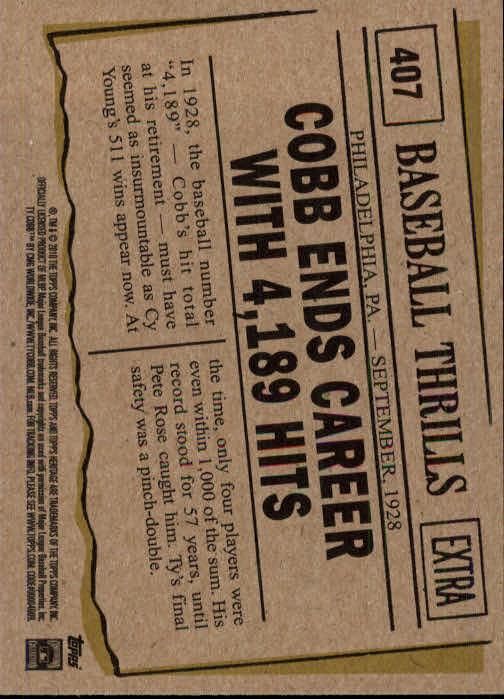 2010 Topps Heritage #407 Ty Cobb BT back image