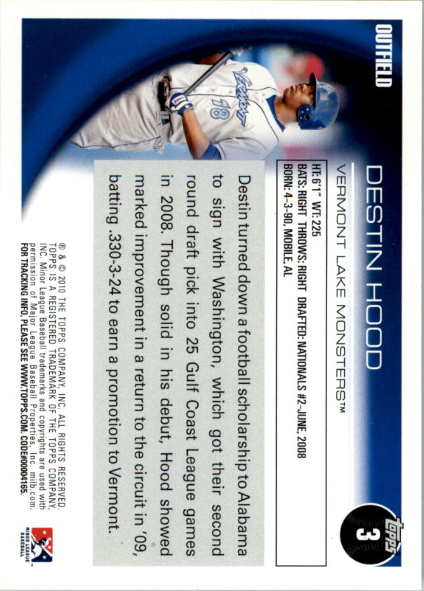 2010 Topps Pro Debut #3 Destin Hood back image