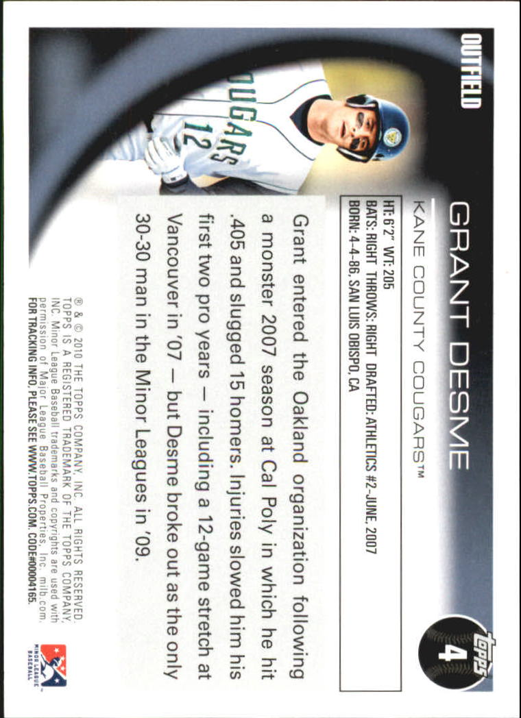 2010 Topps Pro Debut #4 Grant Desme back image