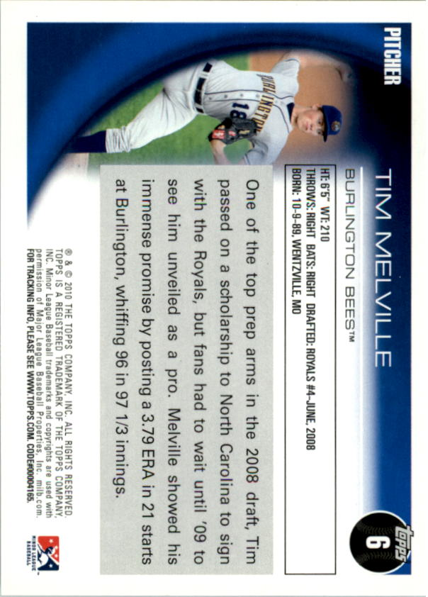 2010 Topps Pro Debut #6 Tim Melville back image