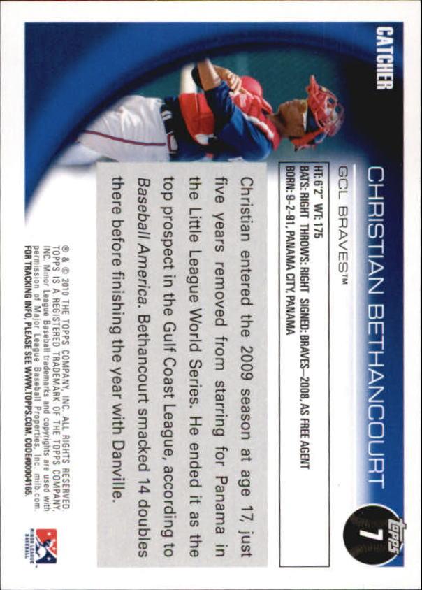2010 Topps Pro Debut #7 Christian Bethancourt back image