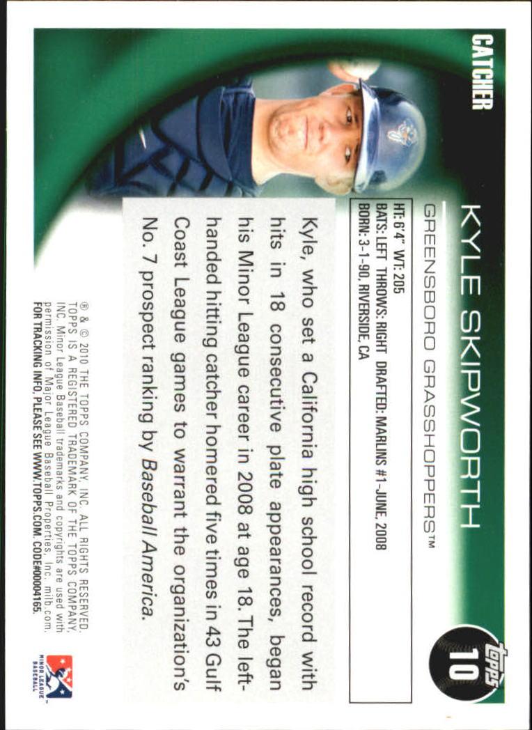 2010 Topps Pro Debut #10 Kyle Skipworth back image