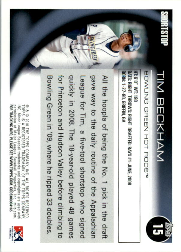 2010 Topps Pro Debut #15 Tim Beckham back image