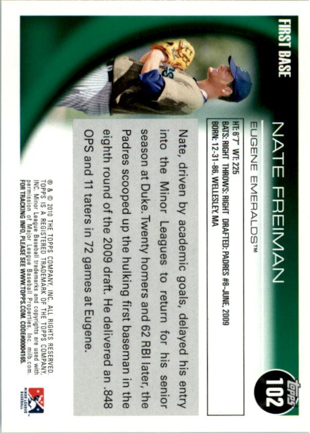2010 Topps Pro Debut #102 Nate Freiman back image