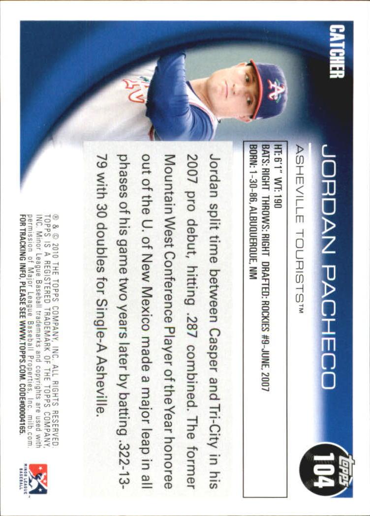 2010 Topps Pro Debut #104 Jordan Pacheco back image