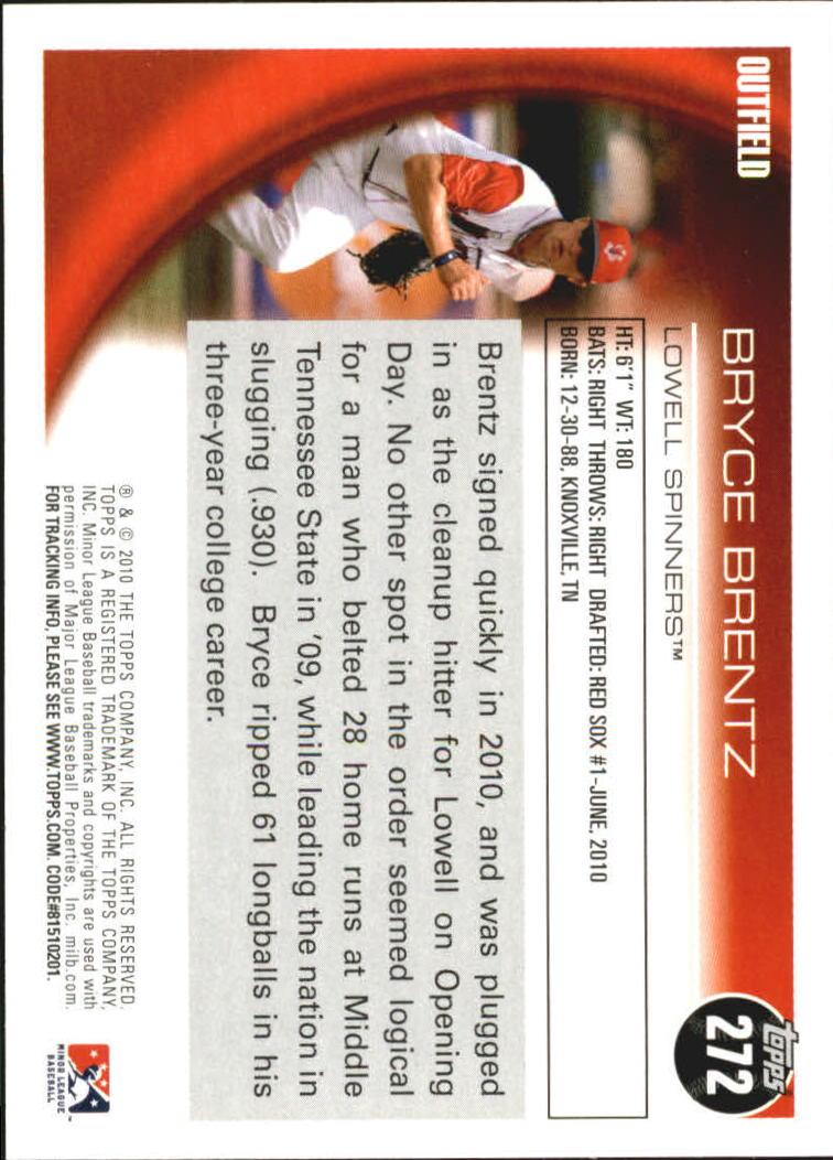 2010 Topps Pro Debut #272 Bryce Brentz back image