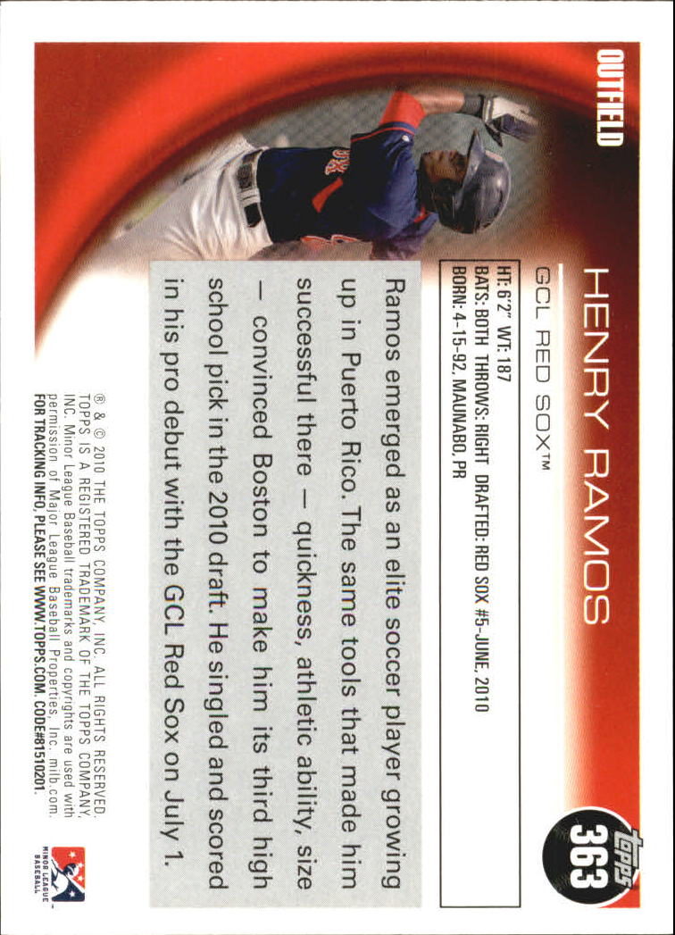 2010 Topps Pro Debut #363 Henry Ramos back image