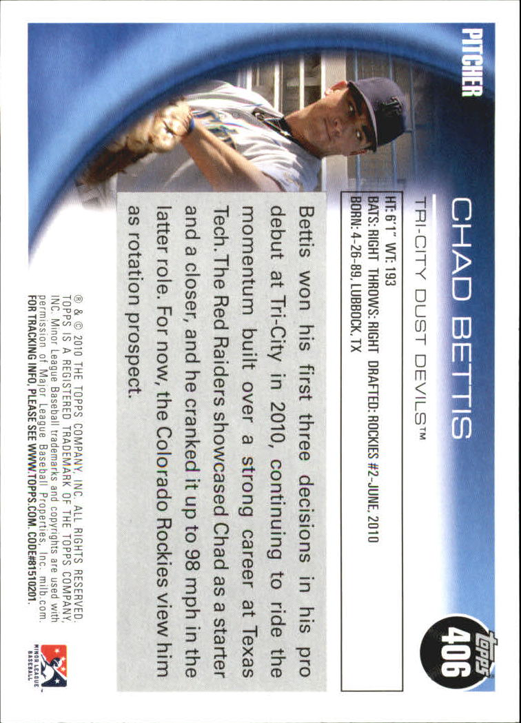 2010 Topps Pro Debut #406 Chad Bettis back image