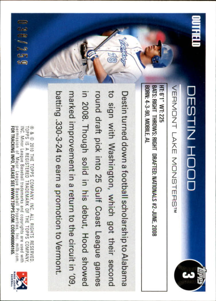 2010 Topps Pro Debut Blue #3 Destin Hood back image