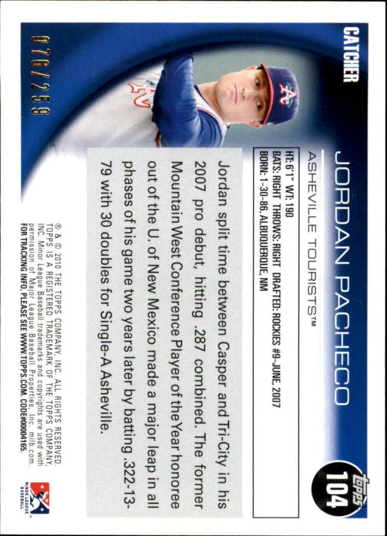 2010 Topps Pro Debut Blue #104 Jordan Pacheco back image