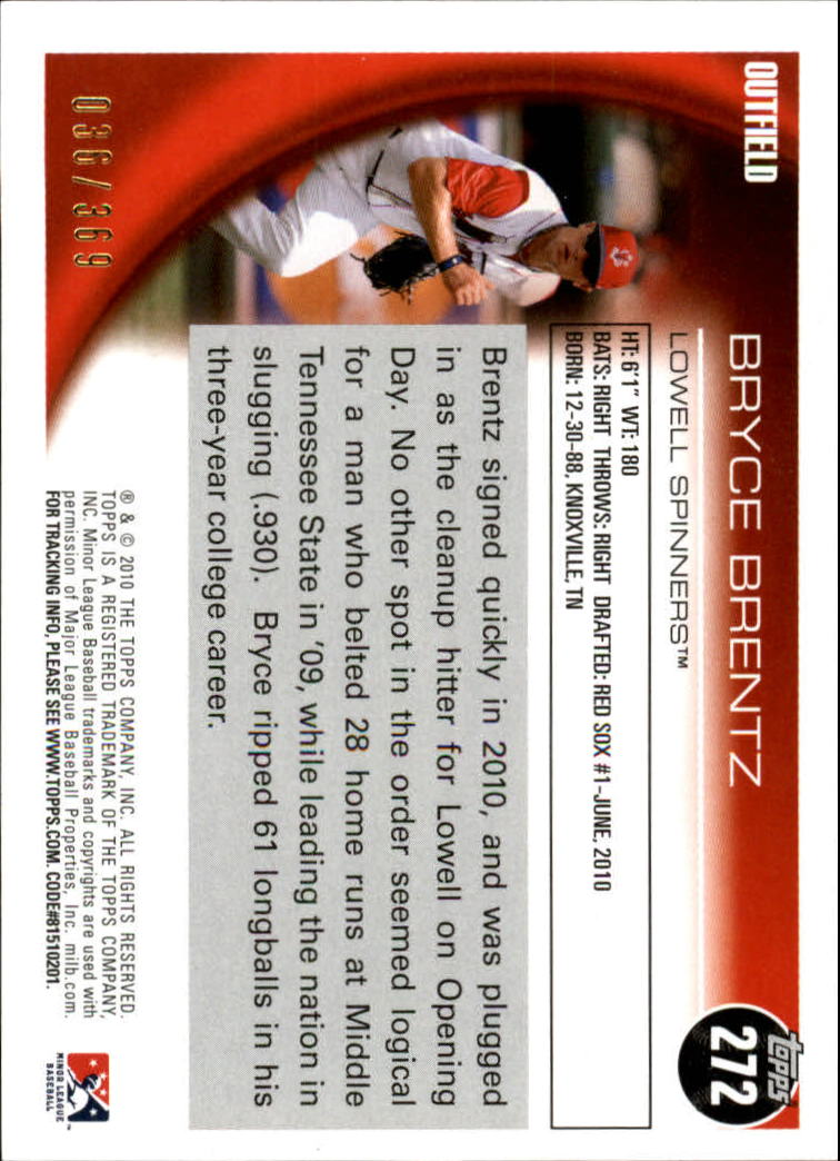 2010 Topps Pro Debut Blue #272 Bryce Brentz back image