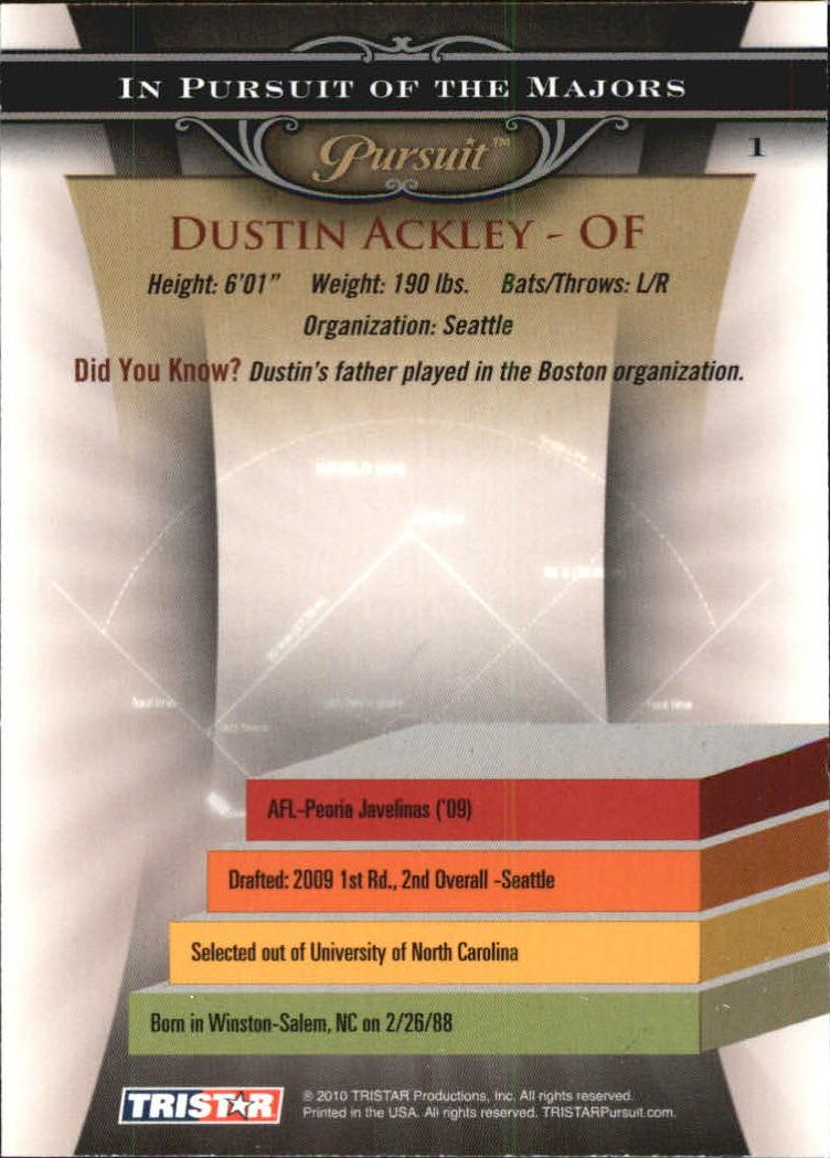 2010 TRISTAR Pursuit #1a Dustin Ackley back image