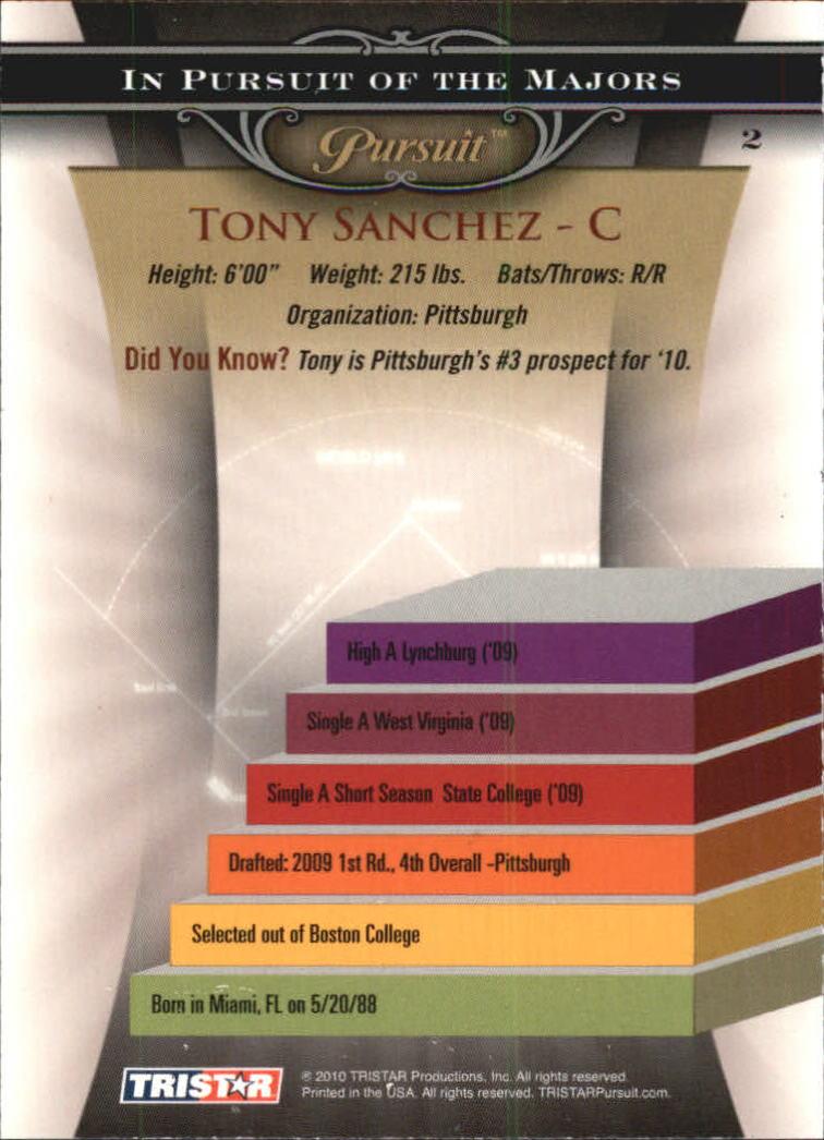 2010 TRISTAR Pursuit #2a Tony Sanchez back image