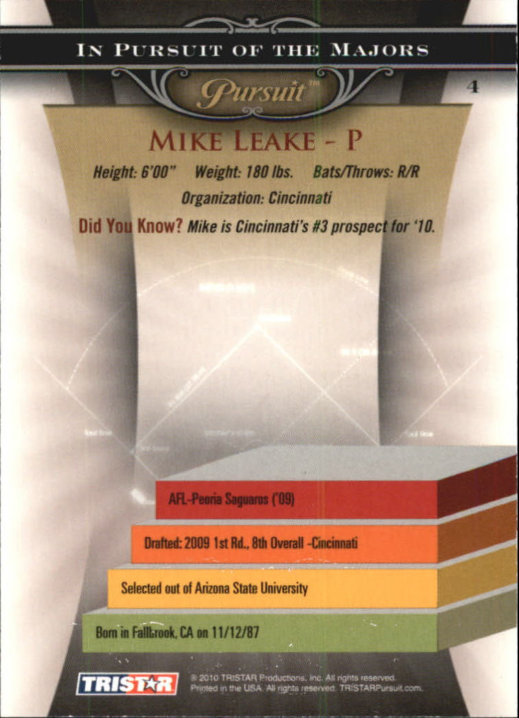 2010 TRISTAR Pursuit #4 Mike Leake back image