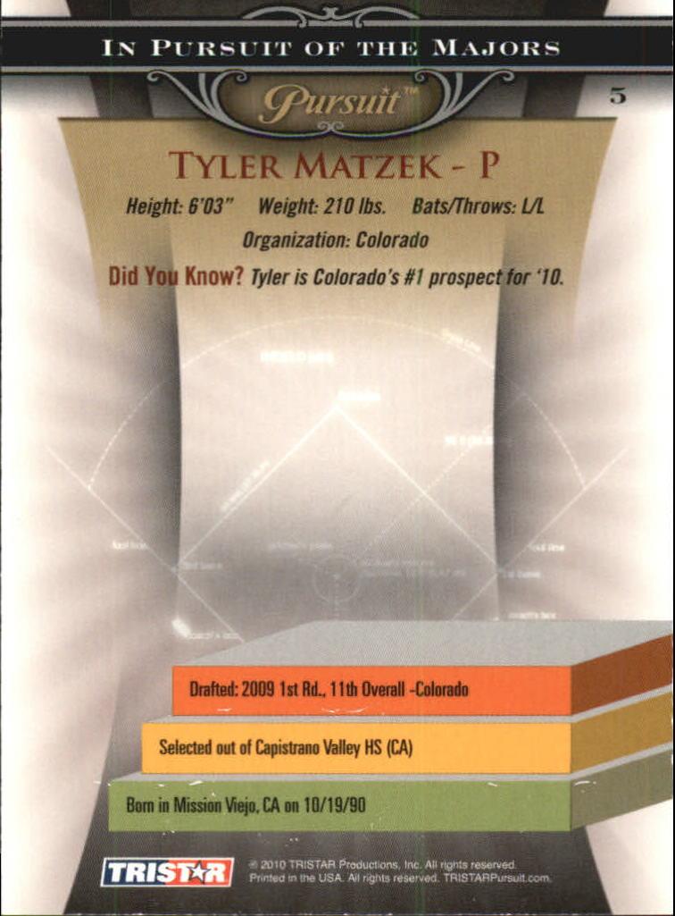 2010 TRISTAR Pursuit #5 Tyler Matzek back image