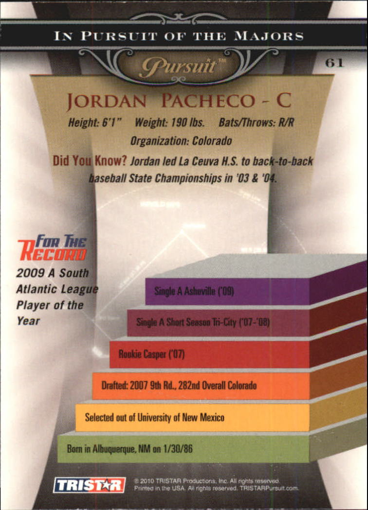 2010 TRISTAR Pursuit #61 Jordan Pacheco back image