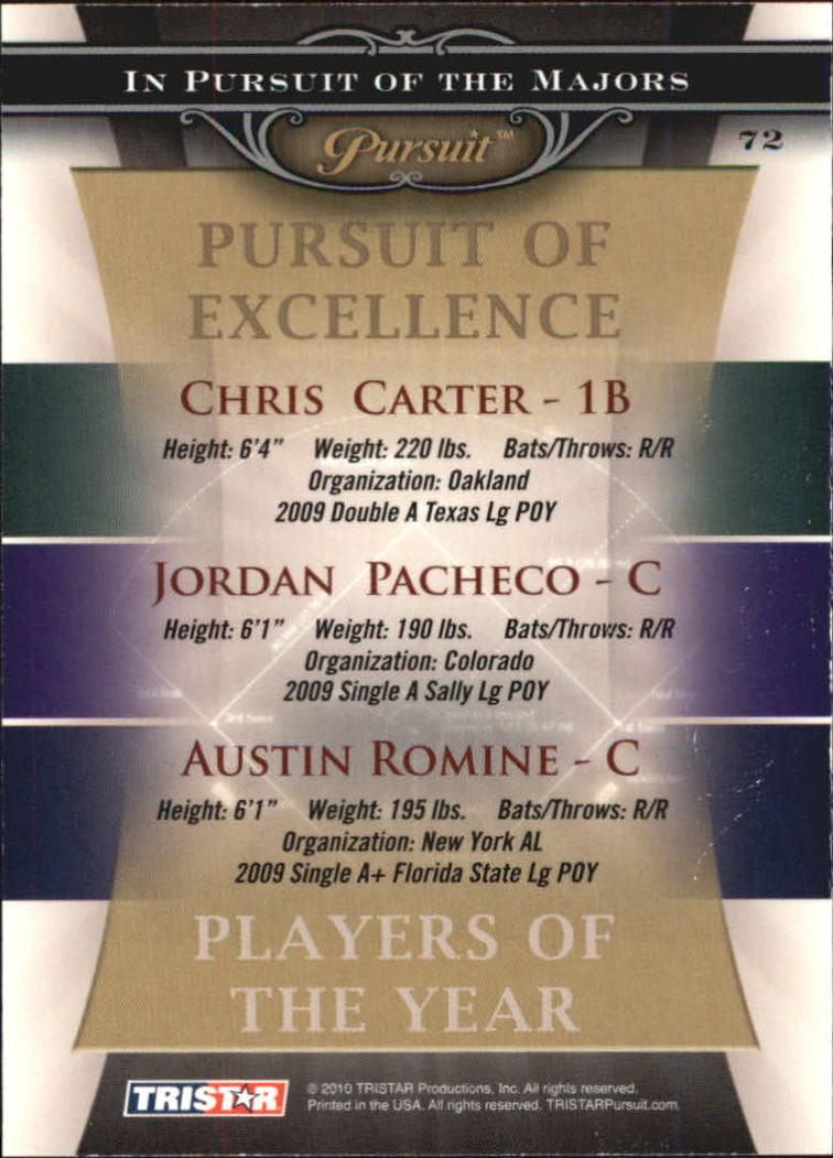 2010 TRISTAR Pursuit #72 Chris Carter/Jordan Pacheco/Austin Romine back image