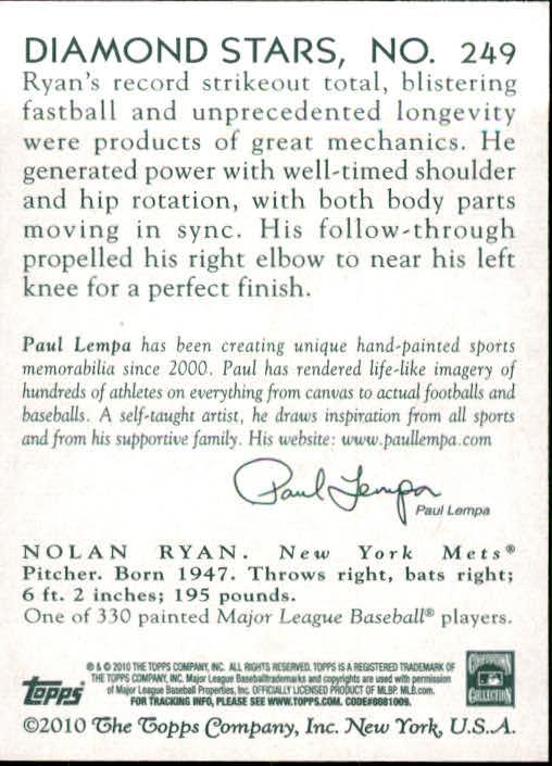 2010 Topps National Chicle #249 Nolan Ryan back image