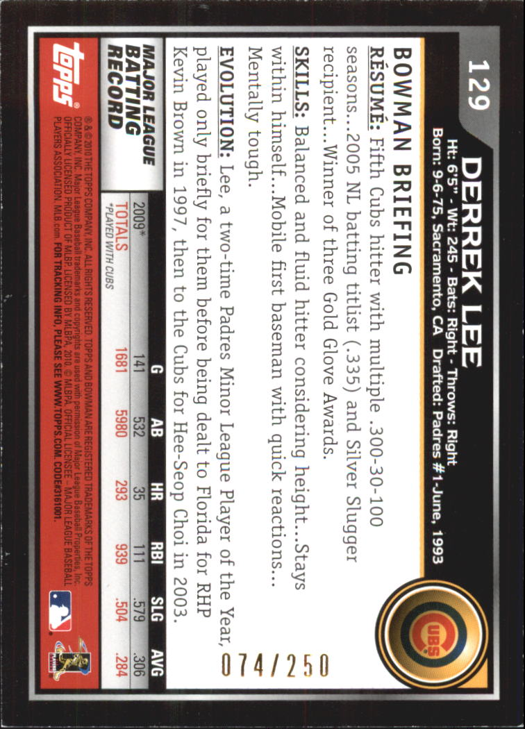 2010 Bowman Orange #129 Derrek Lee back image