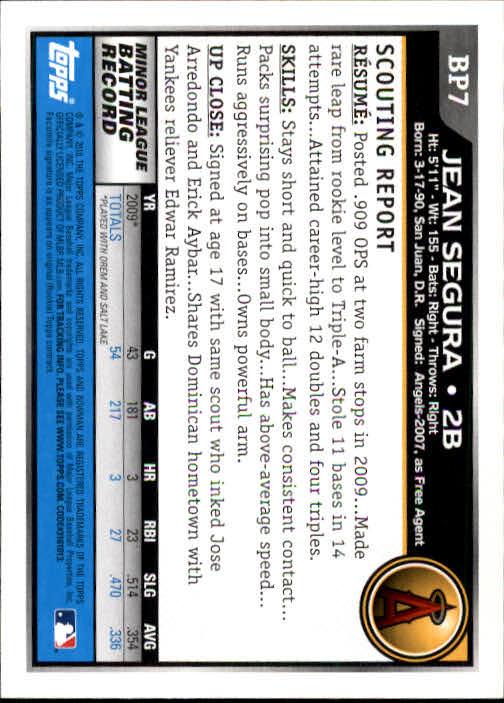 2010 Bowman Prospects #BP7 Jean Segura back image