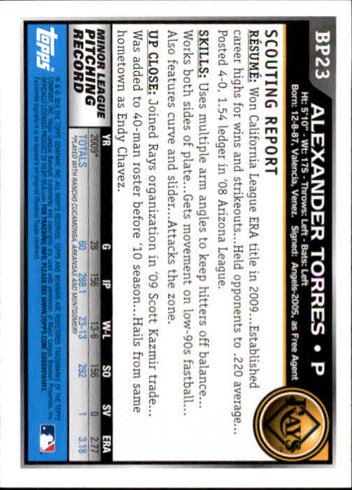 2010 Bowman Prospects #BP23 Alexander Torres back image
