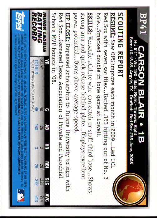 2010 Bowman Prospects #BP41 Carson Blair back image