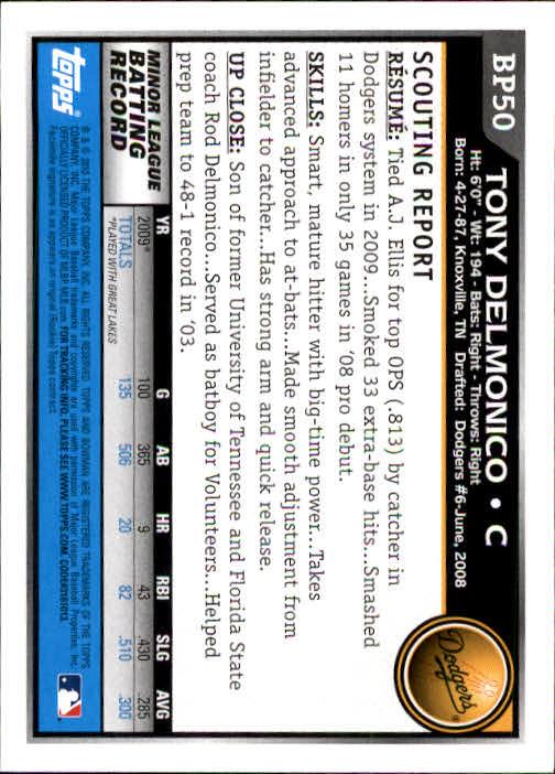 2010 Bowman Prospects #BP50 Tony Delmonico back image