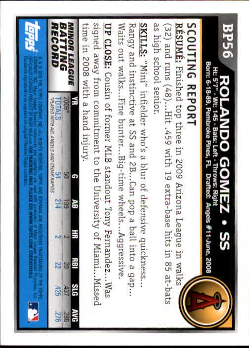 2010 Bowman Prospects #BP56 Rolando Gomez back image