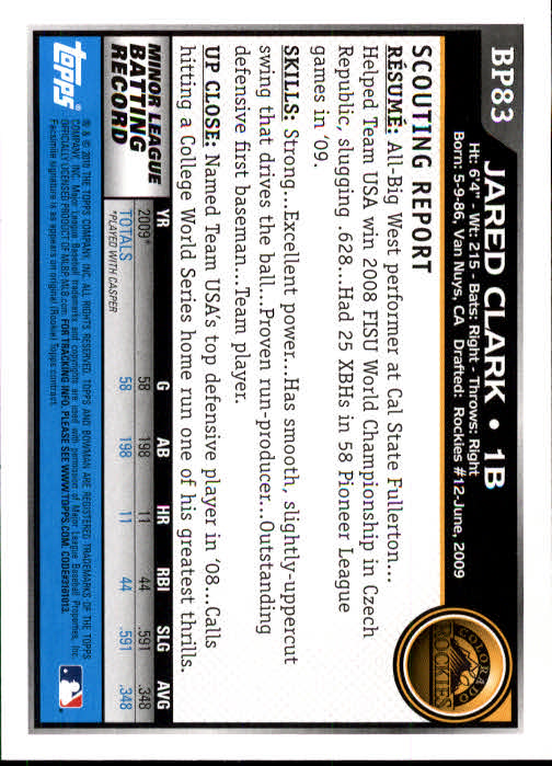 2010 Bowman Prospects #BP83 Jared Clark back image