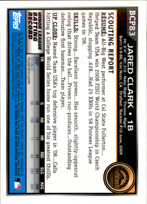 2010 Bowman Chrome Prospects #BCP83 Jared Clark back image