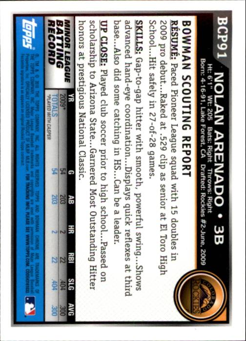 2010 Bowman Chrome Prospects #BCP91A Nolan Arenado back image