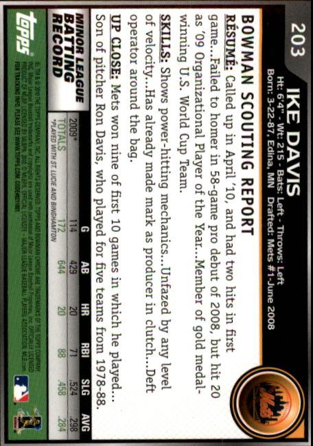 2010 Bowman Chrome #203 Ike Davis RC back image