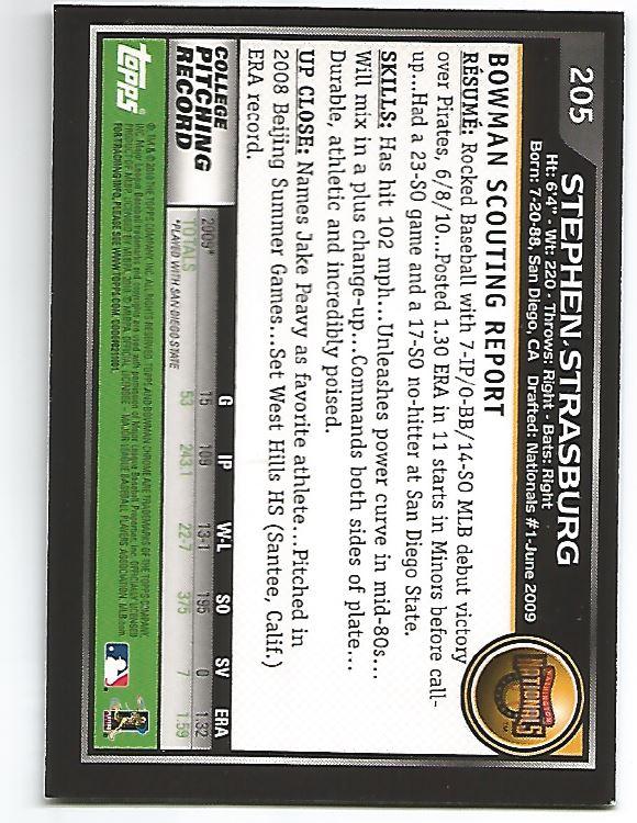 2010 Bowman Chrome #205A Stephen Strasburg RC back image