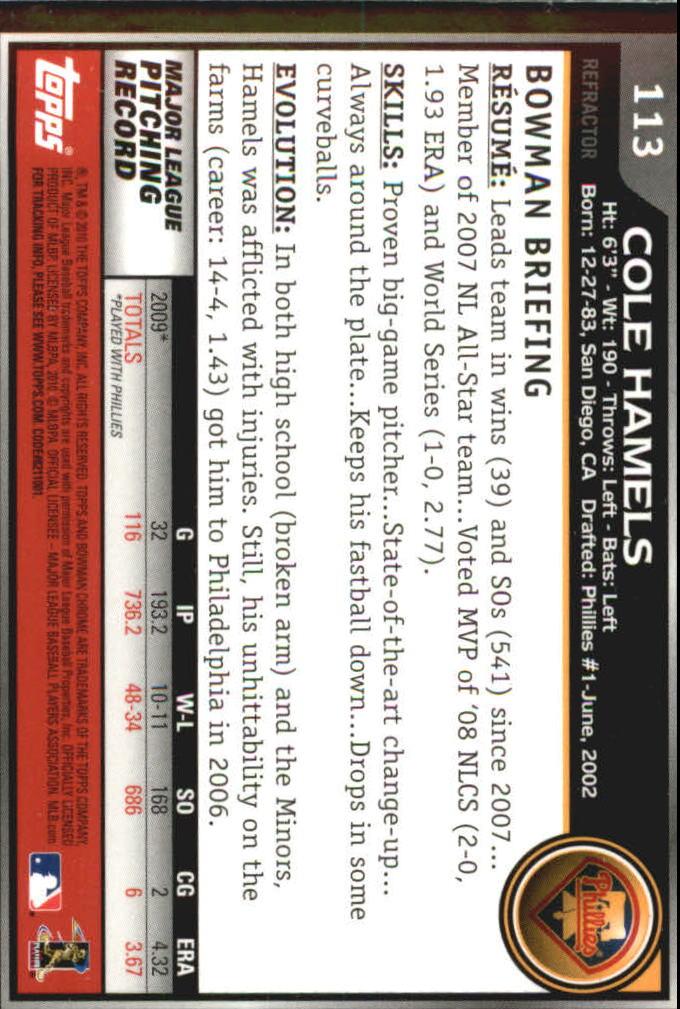 2010 Bowman Chrome Refractors #113 Cole Hamels back image