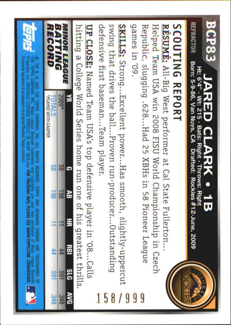 2010 Bowman Chrome Prospects Purple Refractors #BCP83 Jared Clark back image