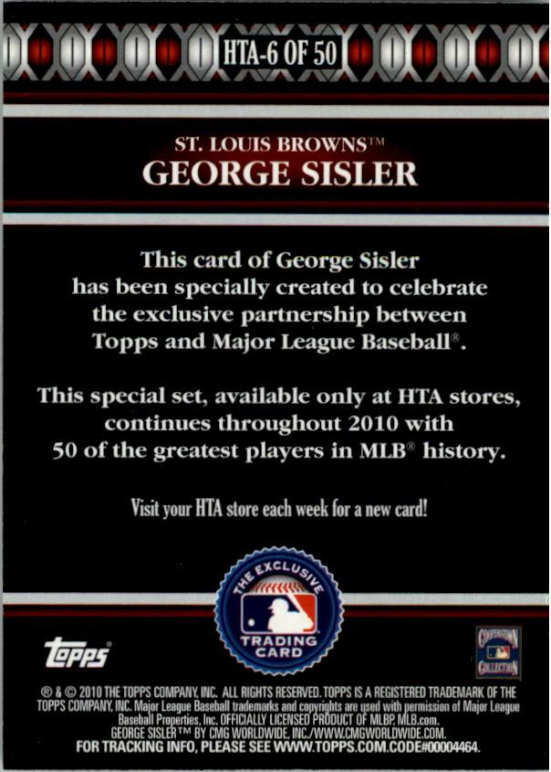 2010 Topps Logoman HTA #6 George Sisler back image