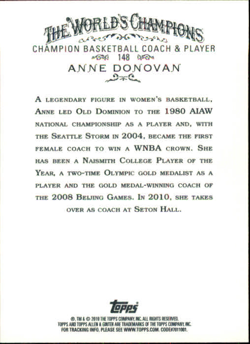 2010 Topps Allen and Ginter #148 Anne Donovan back image