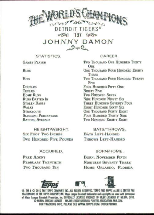 2010 Topps Allen and Ginter #197 Johnny Damon back image
