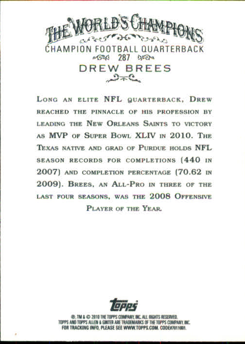 2010 Topps Allen and Ginter #287 Drew Brees back image