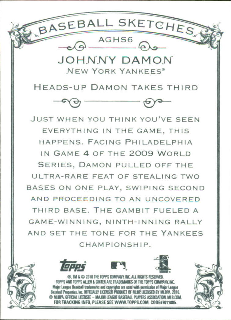 2010 Topps Allen and Ginter Baseball Highlights #AGHS6 Johnny Damon back image