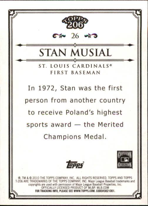 2010 Topps 206 #26 Stan Musial back image