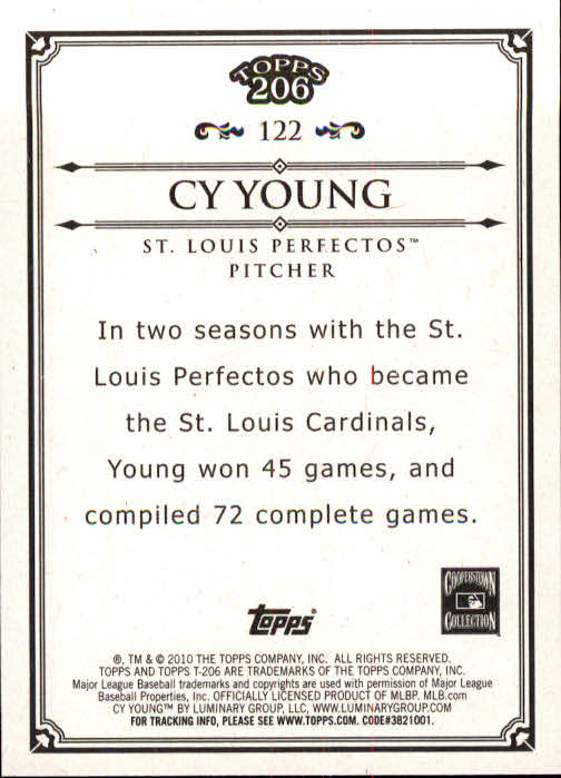 2010 Topps 206 #122 Cy Young back image