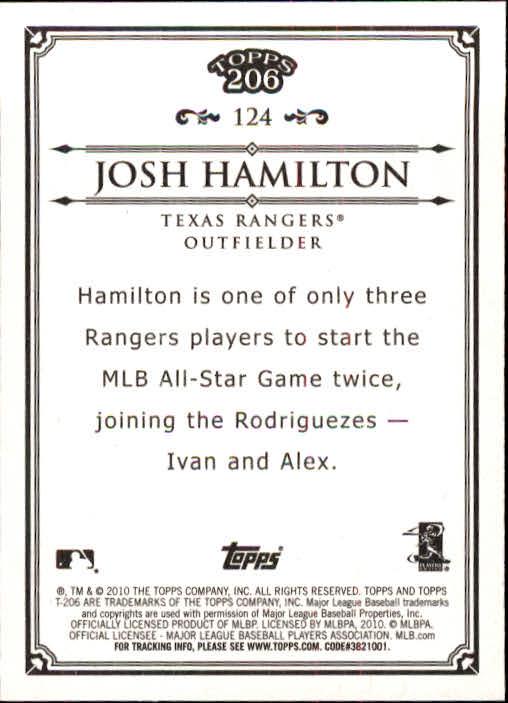 2010 Topps 206 #124 Josh Hamilton back image