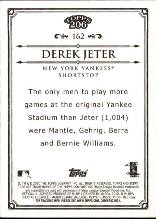 2010 Topps 206 #162 Derek Jeter back image