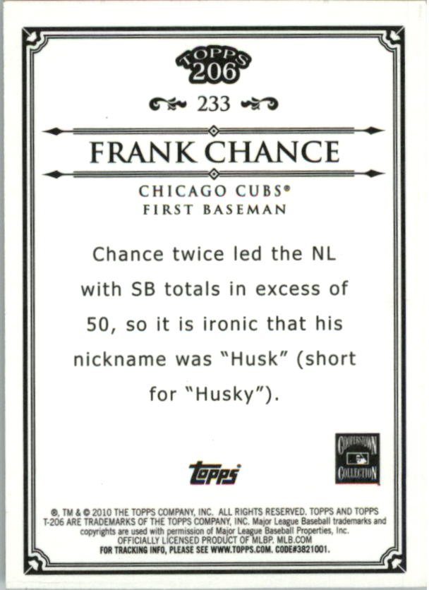 2010 Topps 206 Bronze #233 Frank Chance back image