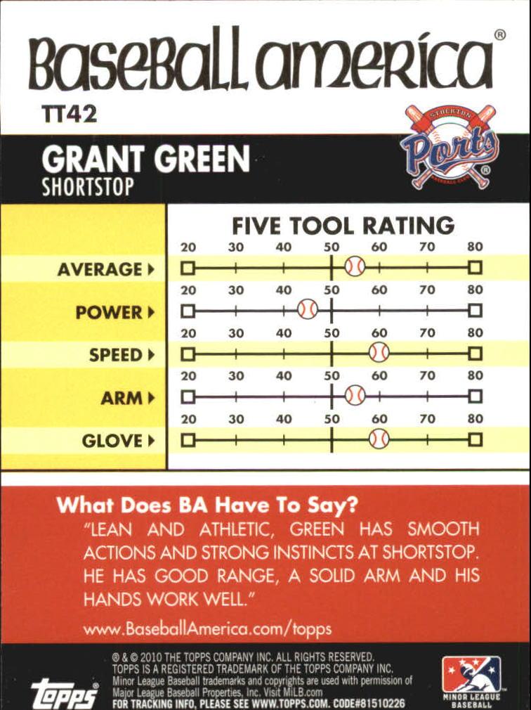 2010 Topps Pro Debut Baseball America's Tools of the Trade #TT42 Grant Green back image