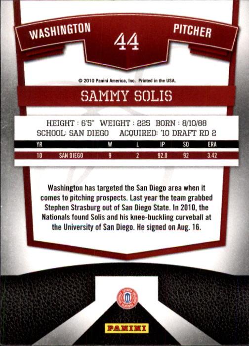 2010 Donruss Elite Extra Edition Aspirations #44 Sammy Solis back image